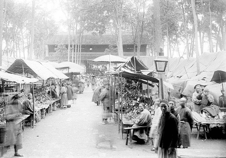 成都老照片系列《五》1911年成都青羊宫集市盛况